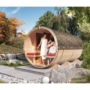 Karibu Sauna Tonneau 4 avec vestibule - 6 à 8 places bois massif 42mm KARIBU - Publicité