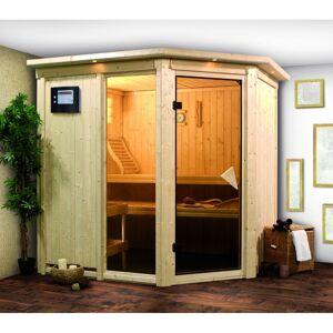 Karibu Sauna traditionnel d'angle FIONA 2 - 68mm - 4 à 5 places - KARIBU - Publicité
