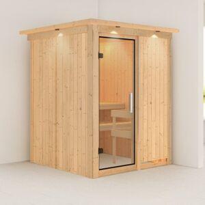 Karibu Sauna traditionnel NORIN 3 à 4 places 68mm avec couronne et porte en verre clair KARIBU - Publicité