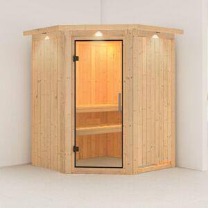 Karibu Sauna traditionnel d'angle LARIN 3 à 4 places 68mm avec couronne et porte en verre claire KARIBU - Publicité