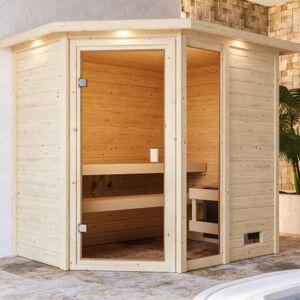 WoodFeeling Sauna traditionnel d'angle Jada 2 à 3 places 38mm avec couronne - Woodfeeling - Publicité