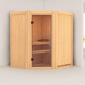 Karibu Sauna traditionnel d'angle TAURIN 2 à 3 places 68mm sans couronne - avec porte en verre clair KARIBU - Publicité