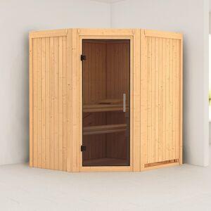 Karibu Sauna traditionnel d'angle TAURIN 2 à 3 places 68mm sans couronne - avec porte moderne KARIBU - Publicité