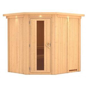 Karibu Sauna traditionnel d'angle SIIRIN 4 à 5 places 68mm avec porte énergétique et couronne KARIBU - Publicité