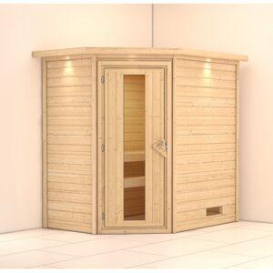 WoodFeeling Sauna d'angle Svea 224*160*202 cm avec porte bois et couronne lumineuse Woodfeeling - Publicité