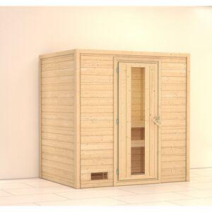 WoodFeeling Sauna Sonja 196x146x198cm porte bois à économie d'énergie Woodfleeling - Publicité