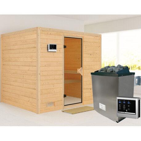 Karibu Sauna traditionnel Sonara 6 à 8 places 40mm + poêle 9kw à commandes externes EASY KARIBU