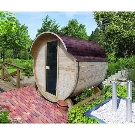 Karibu Sauna d'extérieur Tonneau 1 - 4 à 6 places épicéa massif 42mm KARIBU