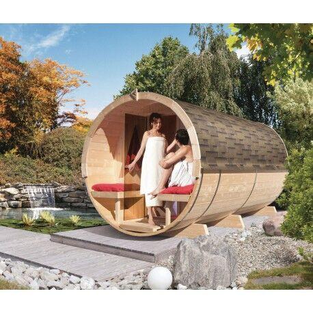 Karibu Sauna Tonneau 4 avec vestibule - 6 à 8 places bois massif 42mm KARIBU