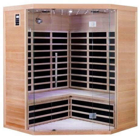 SNÖ Sauna infrarouge d'angle panneaux carbone 2850W LUXE 3-4 places - SNÖ
