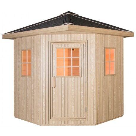 SNÖ Sauna extérieur bardage composite DOME 3-4 places - poêle SAWO 8000W - SNO