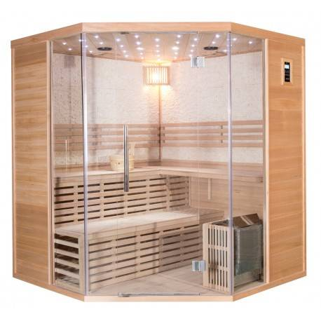SNÖ Sauna traditionnel d'angle LUXE 4-5 places SNÖ + poêle SAWO 8000W
