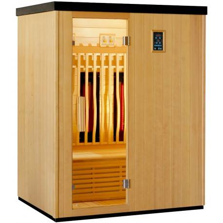 SNÖ Sauna infrarouge chauffages carbone et full spectrum Vertical Black 2450W 3 places - SNÖ