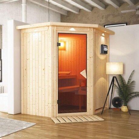 Karibu Sauna traditionnel d'angle Tonja Plug &Play - 3 à 4 places 68mm porte verre clair+ poêle 3,6KW et contrôle moderne KARIBU