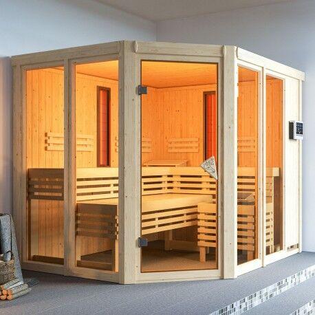 Karibu Sauna d'angle multifonctionnel AVA avec poêle Bio 9kW 4 à 5 places 68mm KARIBU