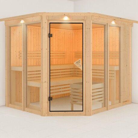 Karibu Sauna d'angle SINUR Superior 5 à 6 places 68mm KARIBU