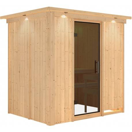 Karibu Sauna traditionnel modulable BODIN 1 à 2 places 68mm - Porte moderne - avec couronne Karibu