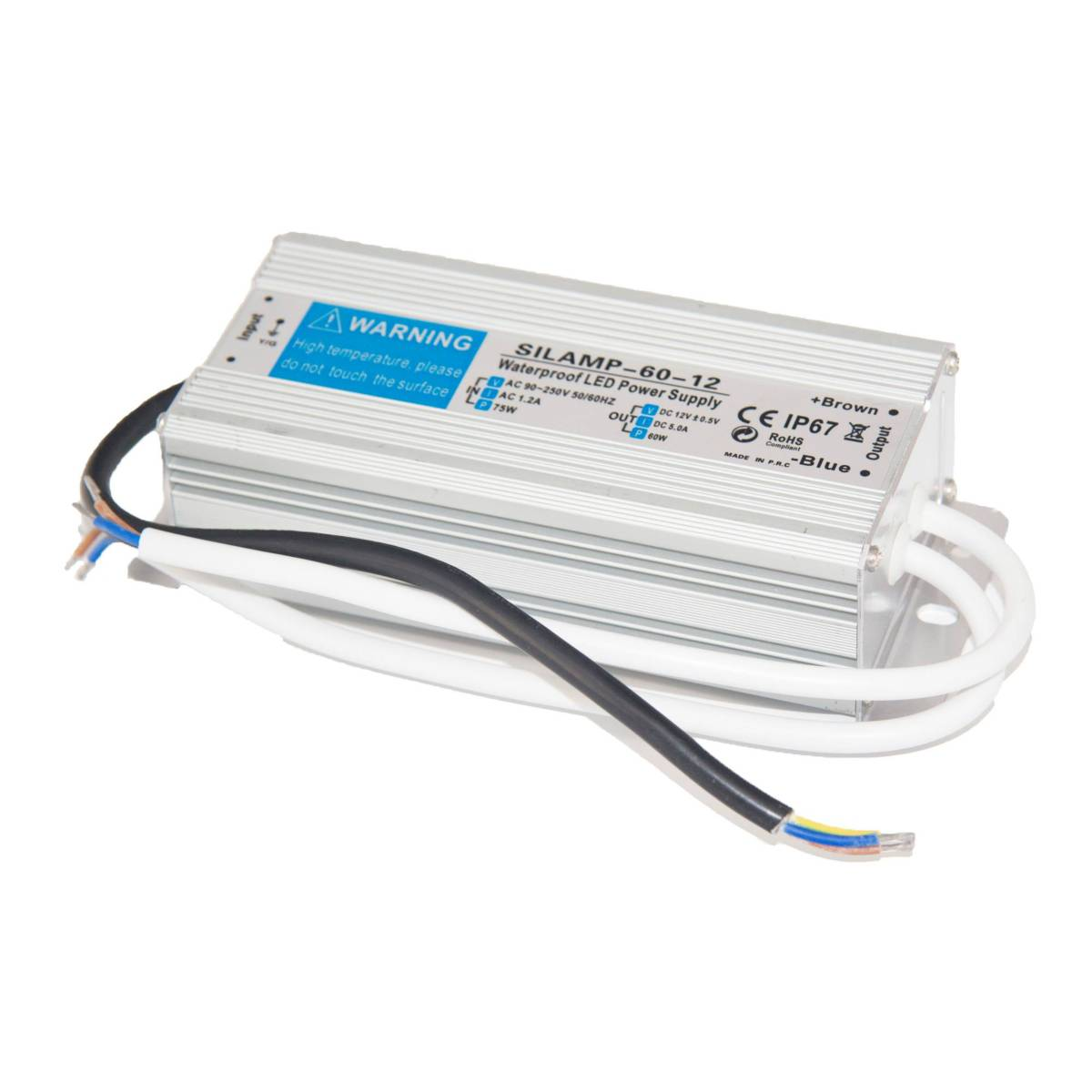 SILAMP Transformateur 220V 12V IP67 60W DC 5A