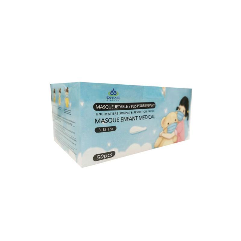SILAMP Masques Chirurgicaux Enfant CE 3 Plis Jetables 3-12 Ans Type IIR - Pack de 50 - Couleur Bleu - Bleu, Rose