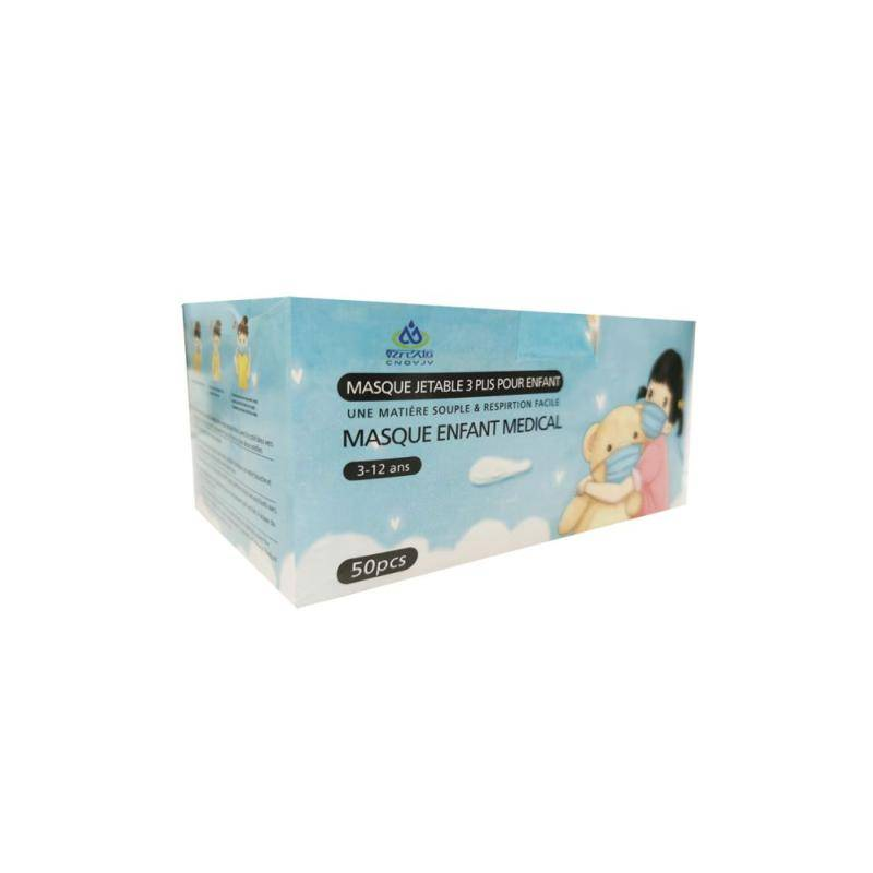 SILAMP Masques Chirurgicaux Roses pour Fille CE 3 Plis Jetables - Type IIR - Pack de 50 - 3-12 Ans - Bleu, Rose
