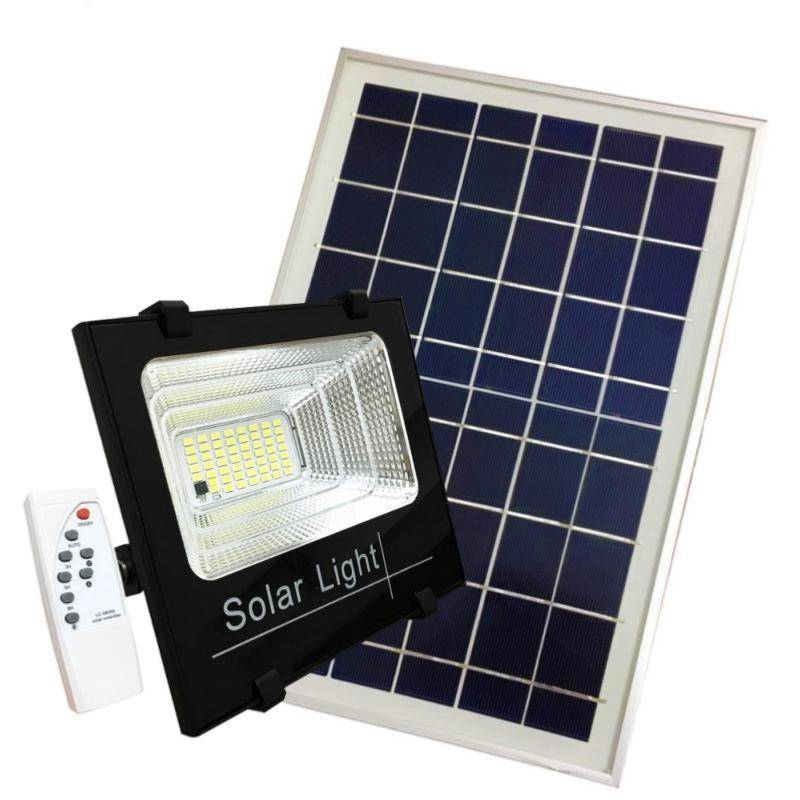 SILAMP Projecteur Solaire LED 100W Dimmable avec Détecteur (Panneau Solaire + Télécommande Inclus) - Blanc Froid 6000K - 8000K