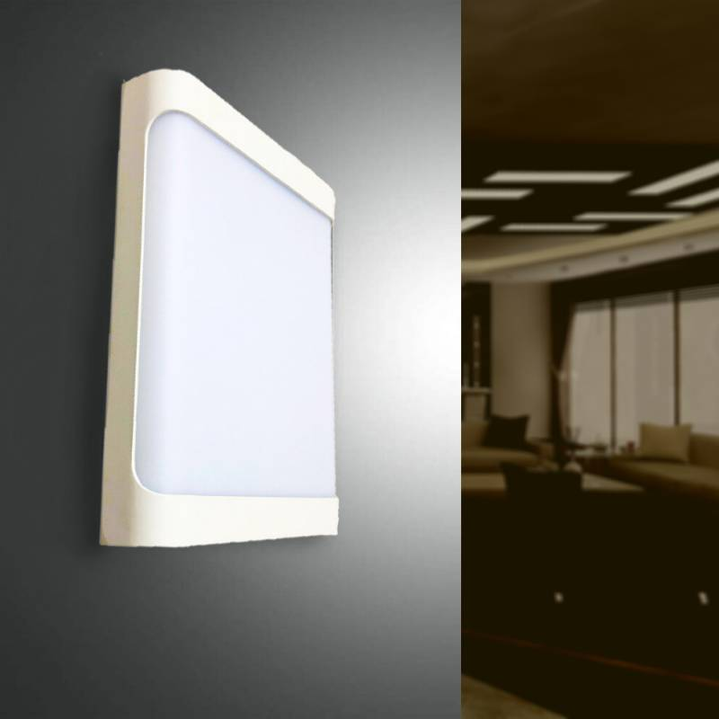 SILAMP Applique Murale LED Rectangulaire 18W IP44 Blanche - Blanc Neutre 4000K - 5500K