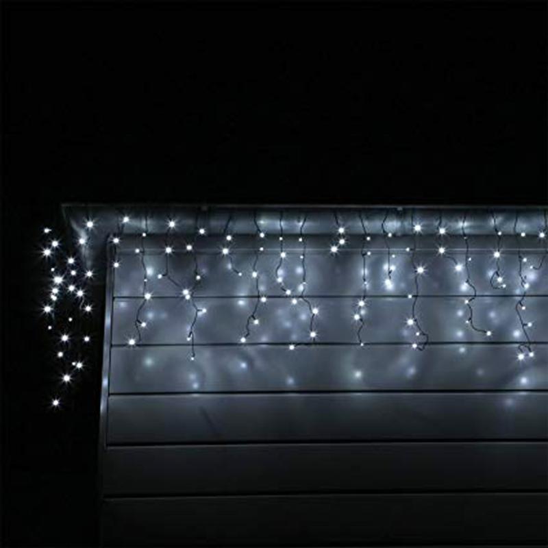 SILAMP Guirlande LED Rideaux 140LED 220V 3m IP44 8 modes - Blanc Froid