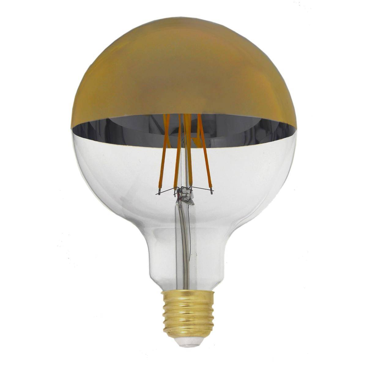 Silamp Ampoule E27 LED Filament Dimmable 8W G125 Globe Reflect Or - couleur eclairage : Blanc Chaud 2300K - 3500K