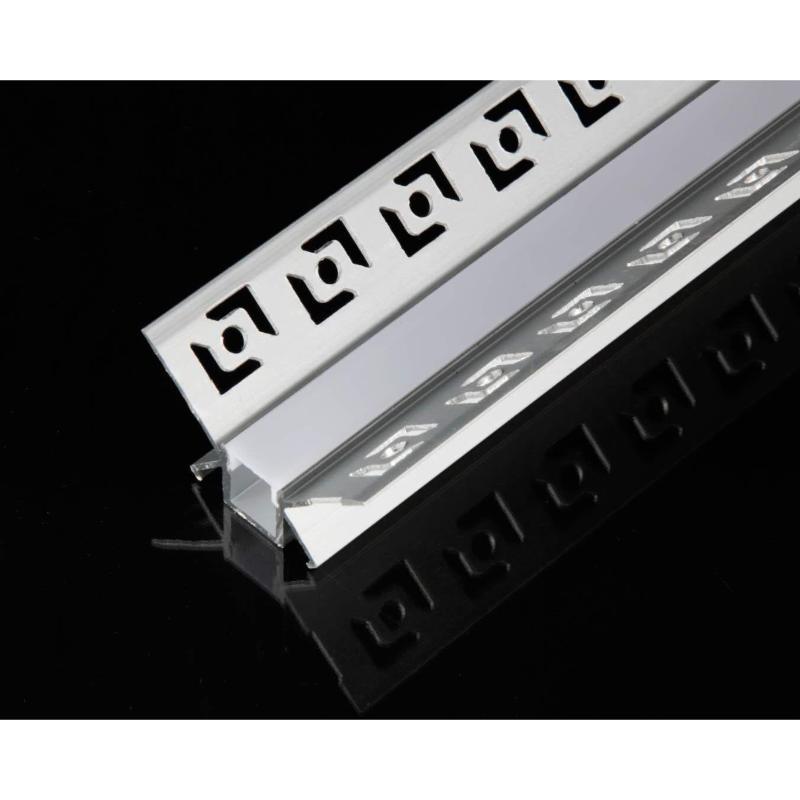 SILAMP Profilé Aluminium encastré d'angle 1m pour Ruban LED Couvercle Blanc Opaque