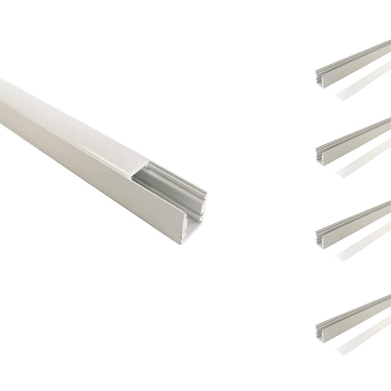 SILAMP Profilé Aluminium 1m pour Ruban LED avec Cache Blanc Opaque (Pack de 5)