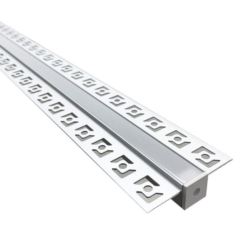 SILAMP Profilé Aluminium encastrable 1m pour Ruban LED Couvercle Blanc Opaque