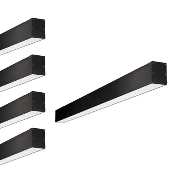 SILAMP Réglette LED 120cmx7cm 36W Suspendue NOIR (Pack de 5) - Blanc Froid 6000K - 8000K