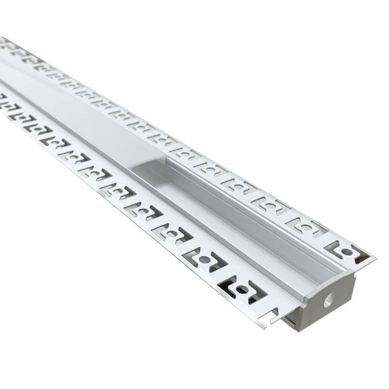 SILAMP Profilé Aluminium encastré 1m pour Ruban LED Double Couvercle Blanc Opaque