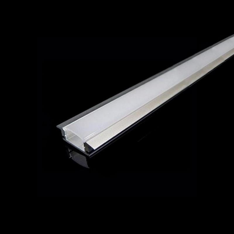 SILAMP Profilé Aluminium encastré 1m pour Ruban LED Couvercle Blanc Opaque