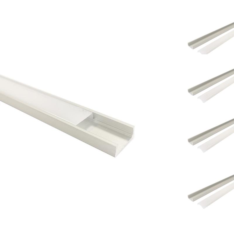 SILAMP Profilé Aluminium 2m pour Ruban LED avec Couvercle Blanc Opaque (Pack de 5)