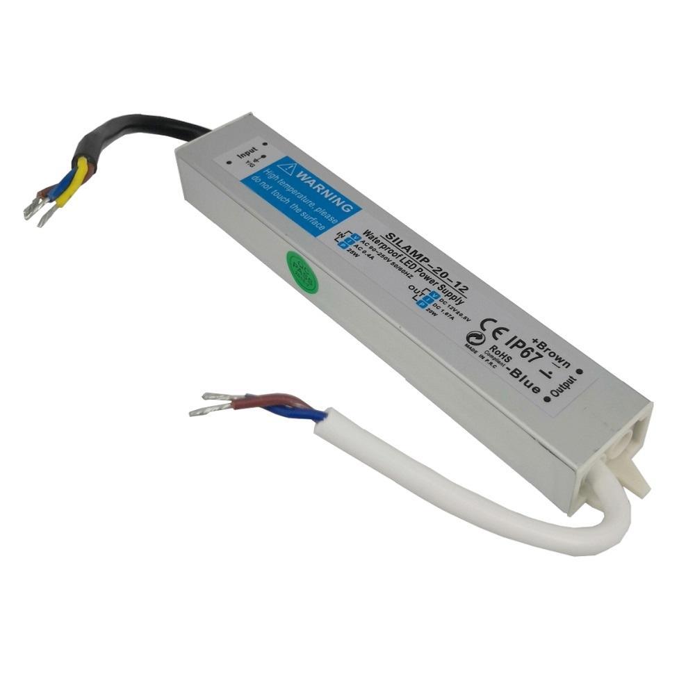 SILAMP Transformateur 220V 12V IP67 20W DC 1.67A