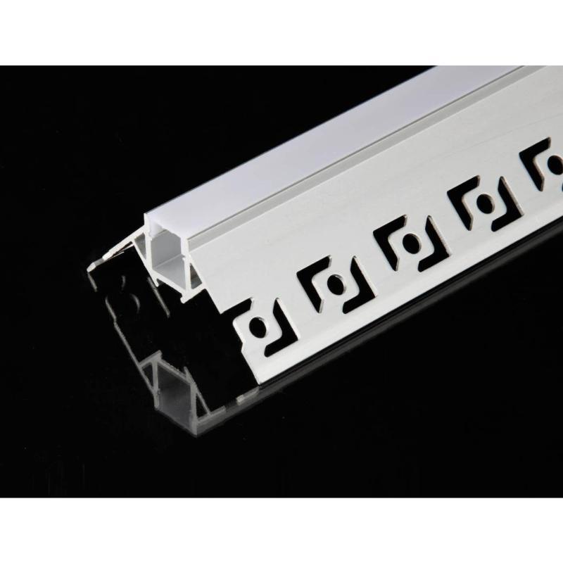 SILAMP Profilé Aluminium encastré angulaire 2m pour Ruban LED Couvercle Blanc Opaque