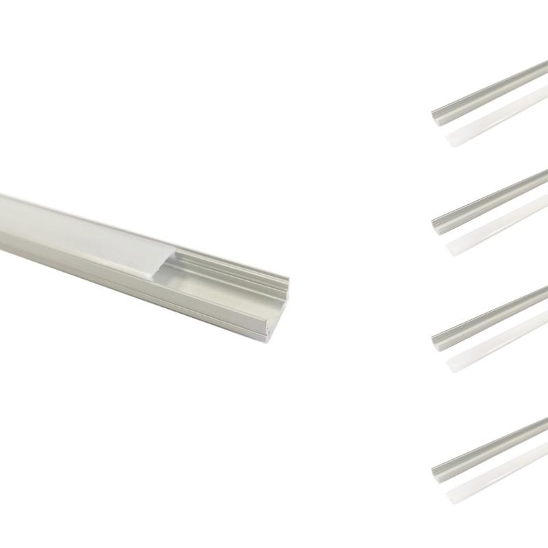 SILAMP Profilé Aluminium 2m pour Ruban LED Couvercle Blanc Opaque (pack de 5)