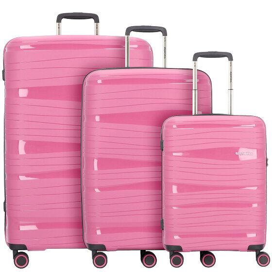 Travelite Motion 4-Rollen Set de voyage: valise, sac à dos et sac bandouliére bonbon