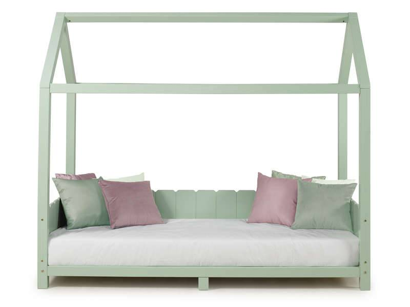 CONFORAMA Lit cabane 90x190 cm MONTY coloris vert amande