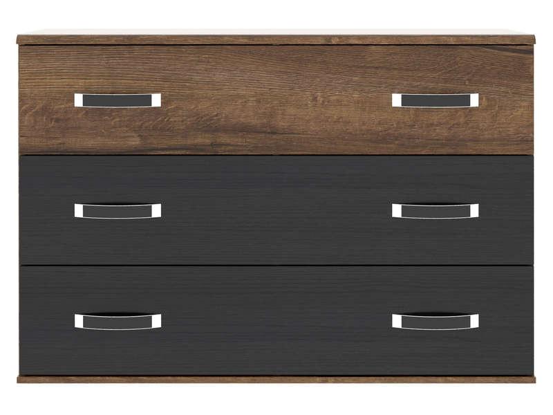 CONFORAMA Commode 3 tiroirs DOLCE COTTAGE coloris imitation chêne noir et chêne noble