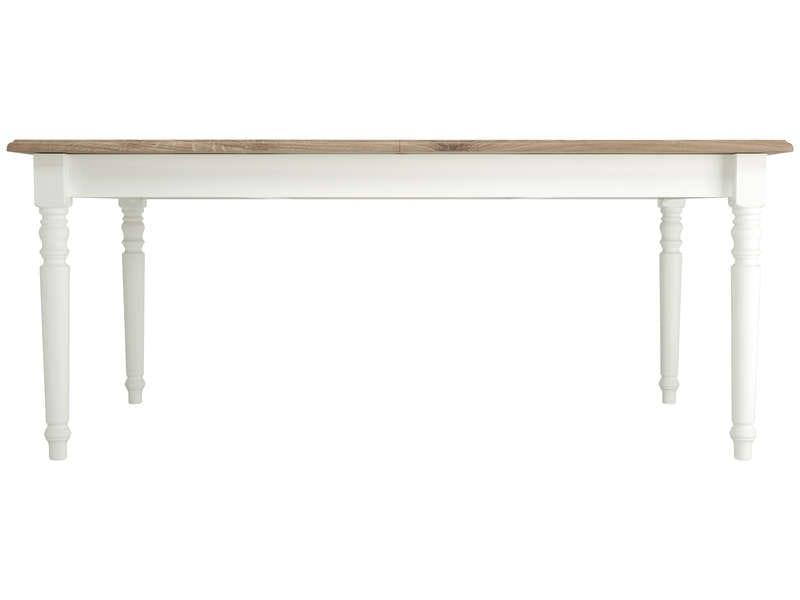 CONFORAMA Table rectangulaire extensible 180 cm COTTAGE coloris blanc