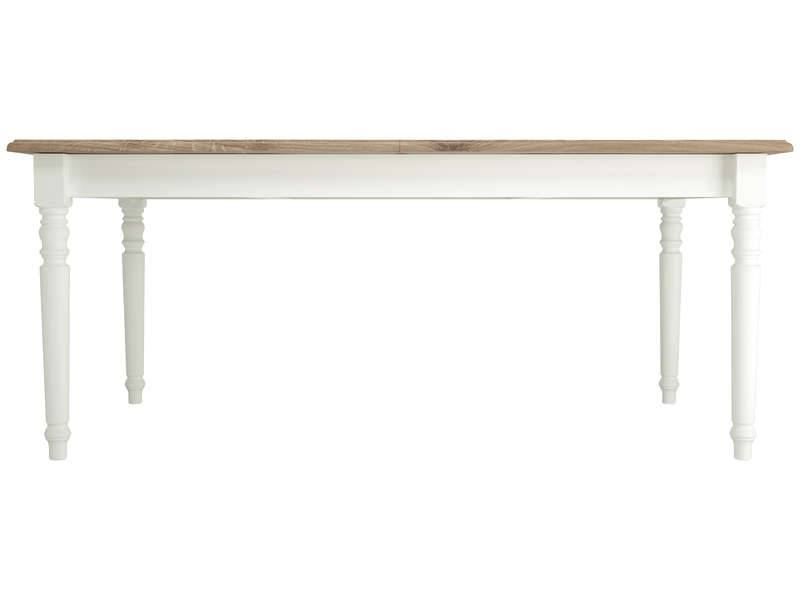 CONFORAMA Table rectangulaire extensible 180 cm COTTAGE coloris blanc