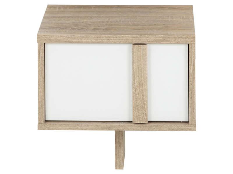 CONFORAMA Chevet suspendu 1 tiroir CURTYS coloris chêne sonoma et uni blanc laqué brillant