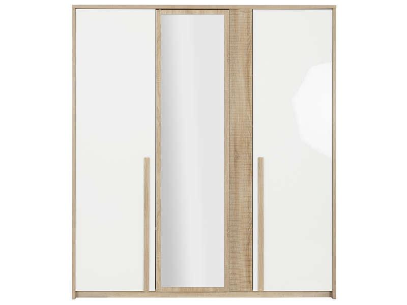 CONFORAMA Armoire 3 portes CURTYS coloris chêne sonoma et uni blanc laqué brillant