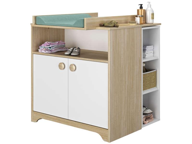 CONFORAMA Commode (Plan à langer et étagère vendus séparément) CALINOU coloris chêne clair et blanc