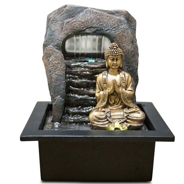 LA PLACE Fontaine d'Intérieur Déco Bouddha Feng Shui Dao avec Eclairage Led