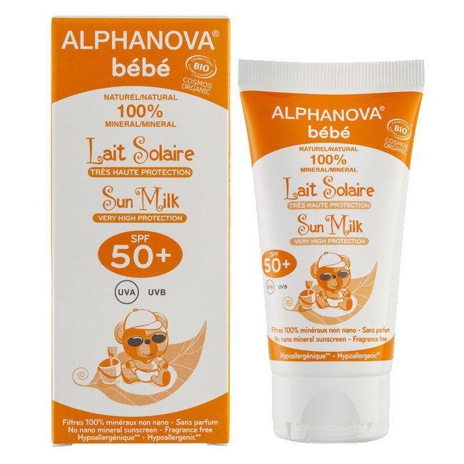 ALPHANOVA Lait Solaire Bio Bébé  Indice 50+ - 50g -Alphanova Sun