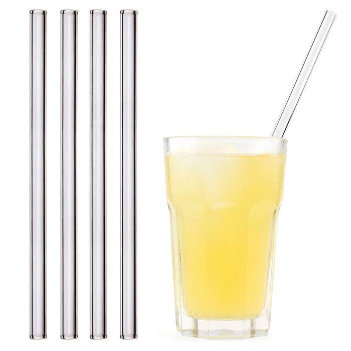 Eco-conseils Lot de 4 pailles droites en inox avec 1 brosse