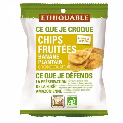 ETHIQUABLE Chips FRUITÉES Banane Plantain bio & équitable